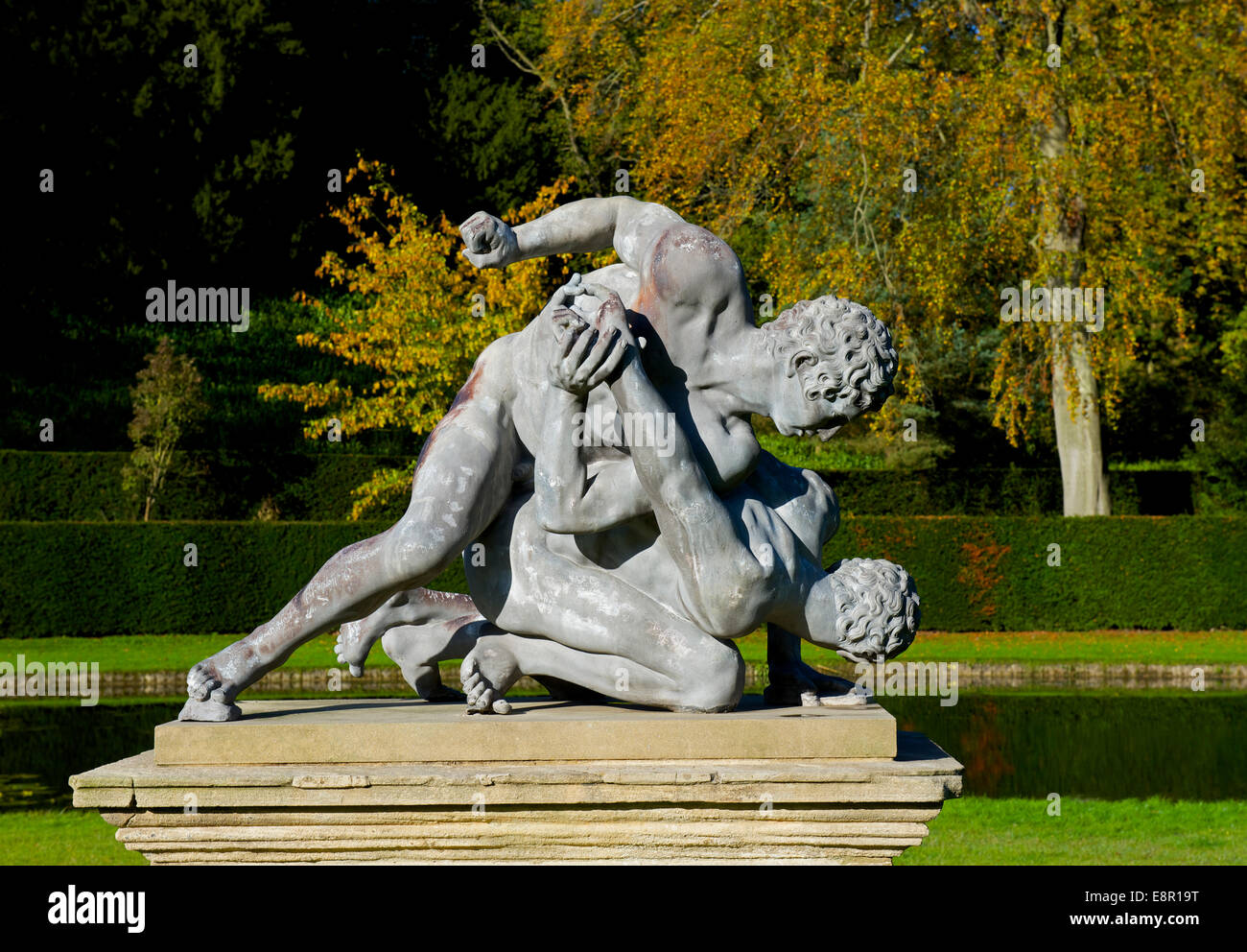Statue of wrestlers at Studley Royal, near Ripon, North Yorkshire, England UK - Stock Image