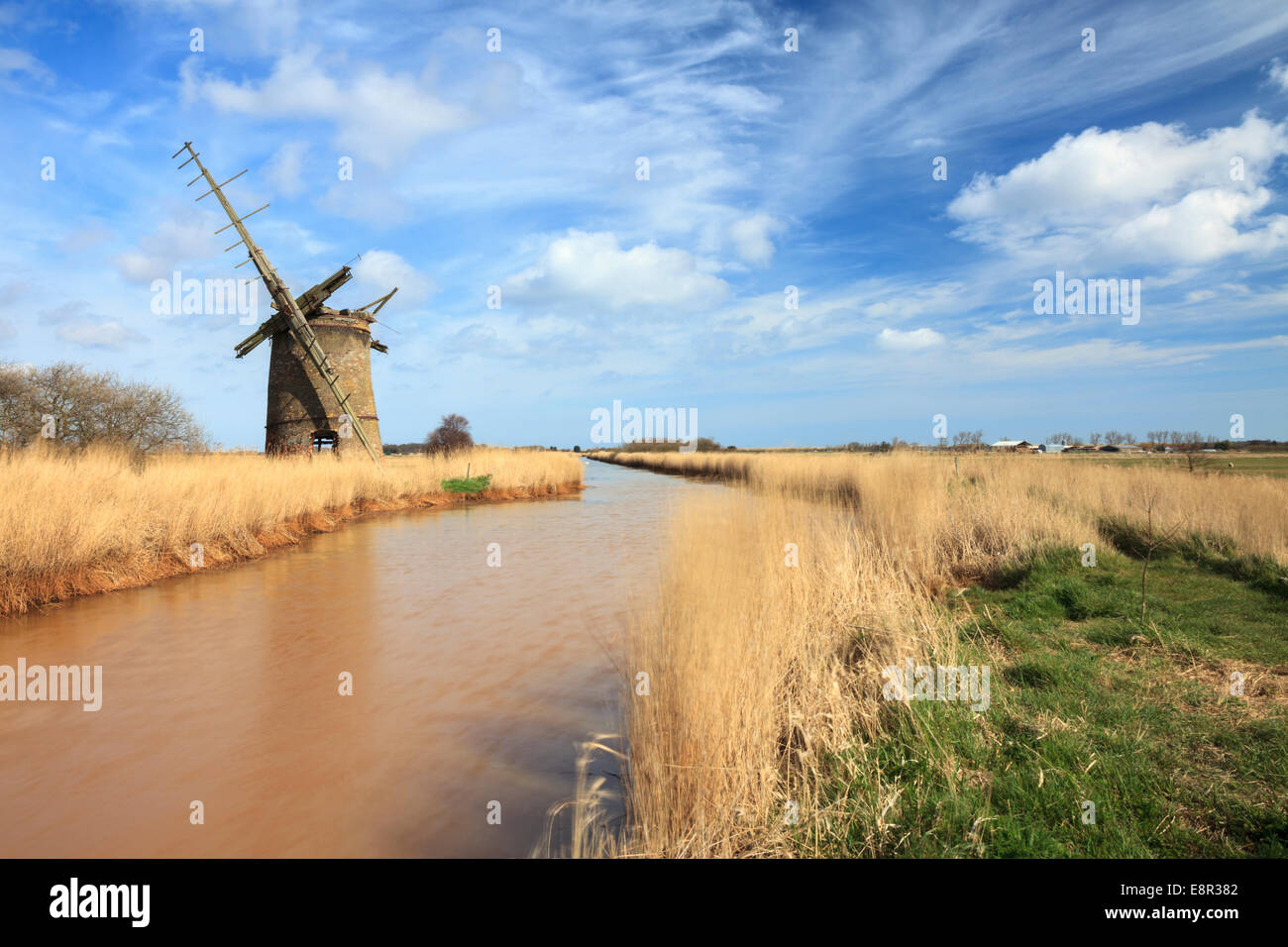 Brograve Drainage Mill in the Broads National Park, Norfolk - Stock Image