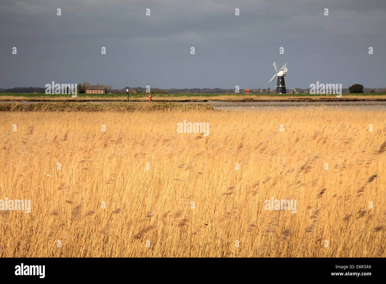 A view across Burgh Castle Marshes to the Bernie Arm Drainage Mill - Stock Image