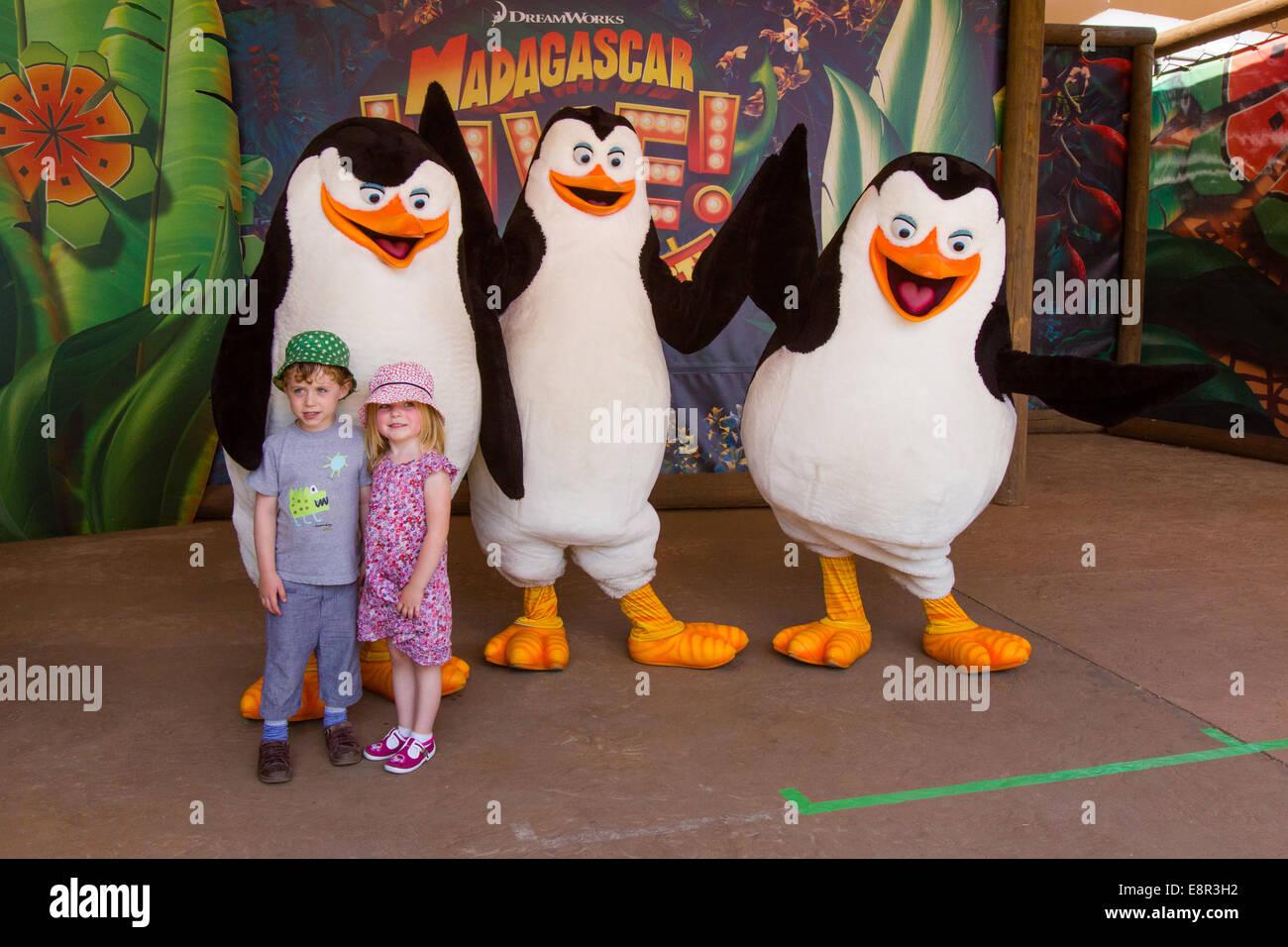 Madagascar live show at Chessington World of Adventures, Surrey, United Kingdom. - Stock Image
