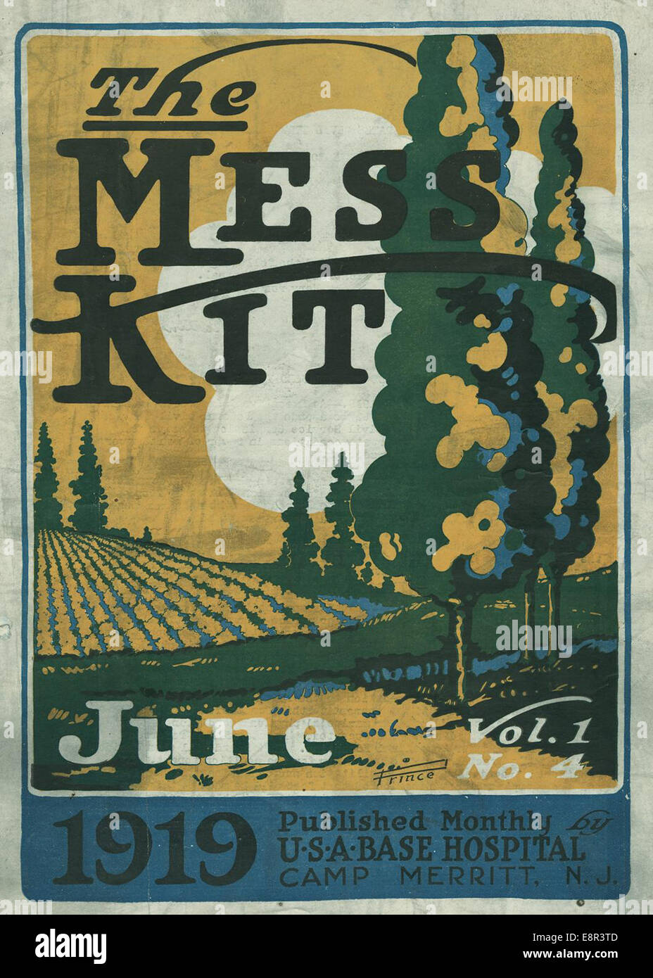 Appears In: Mess-Kit  Image Description: Image of the cover page of The mess-kit, vol. 1, no. 4 showing a drawing - Stock Image