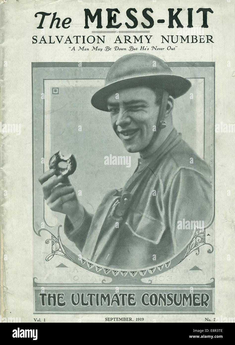 Appears In: Mess-Kit  Image Description: Image of the cover page of The mess-kit, vol. 1, no. 7 showing a male solider - Stock Image