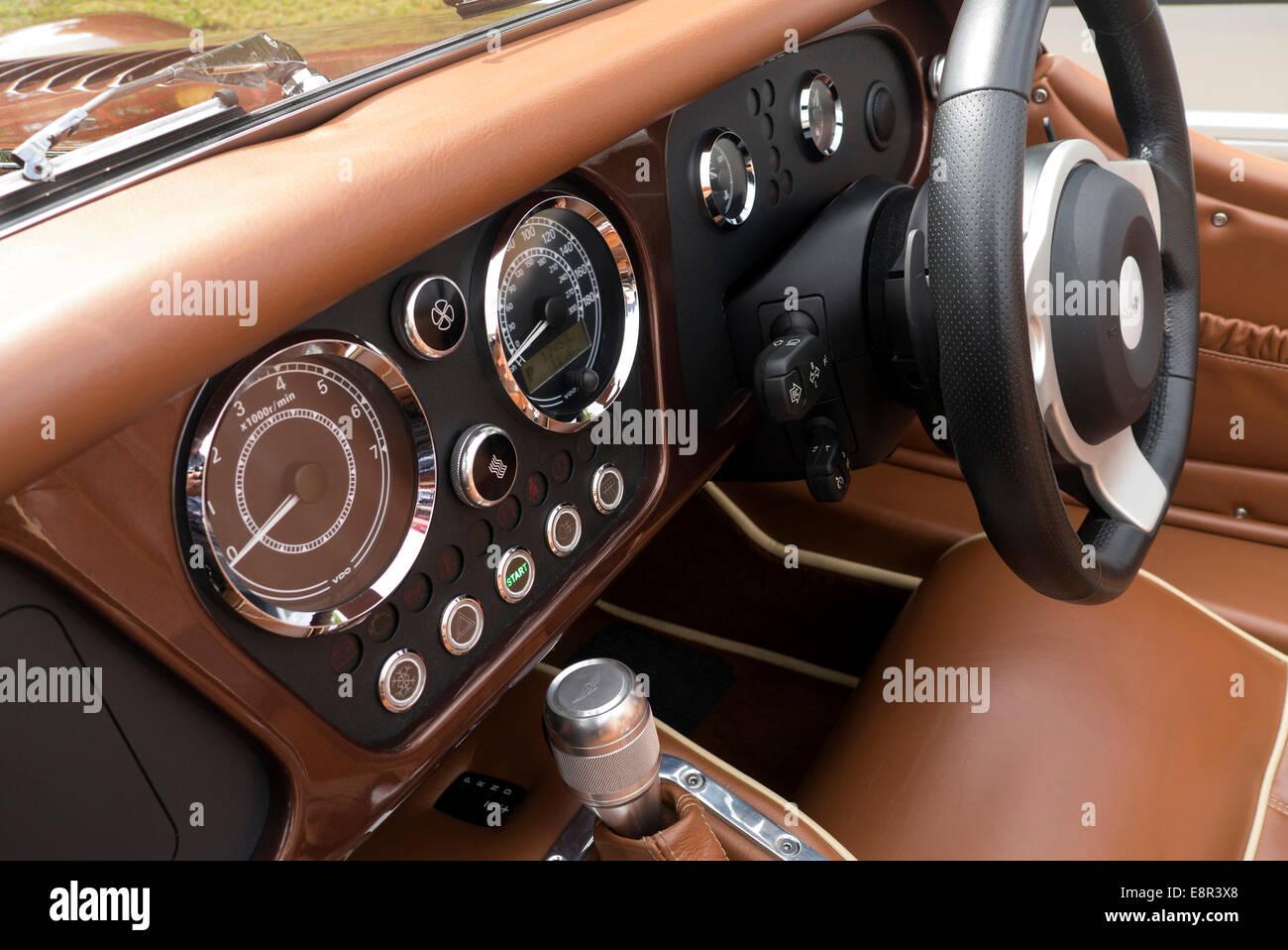 2014 Morgan Plus 8 interior and dashboard - Stock Image