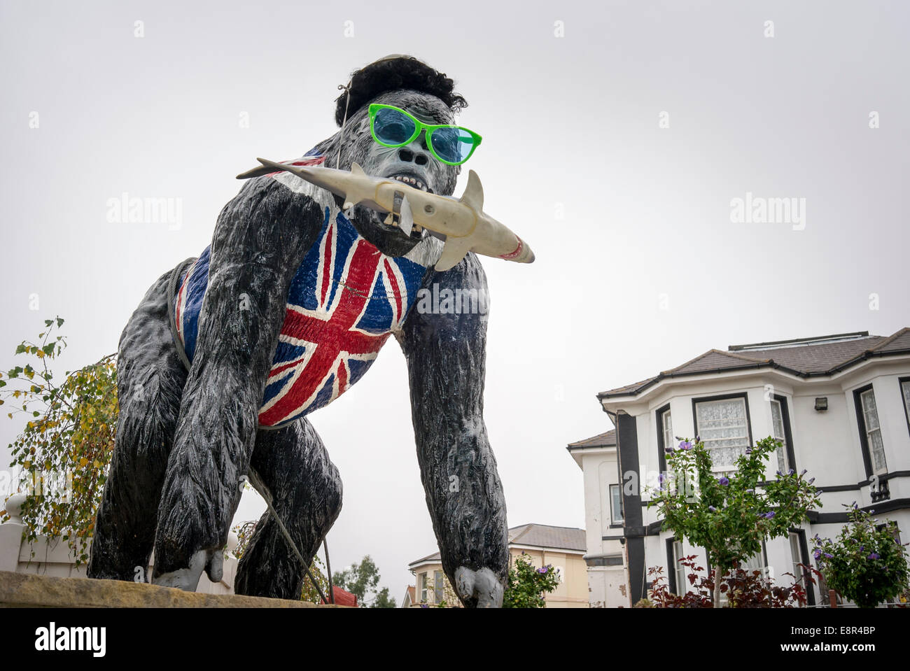 Grotesque gorilla wearing Union Jack peering over a guest house wall - Stock Image
