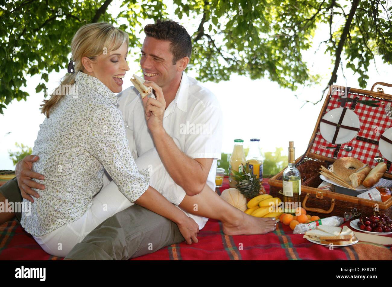 verliebtes paar bei einem picknick am see modellfreigabe stock photo 74269749 alamy. Black Bedroom Furniture Sets. Home Design Ideas