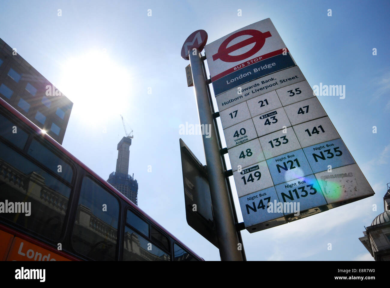 London Bridge bus stop, London UK Stock Photo