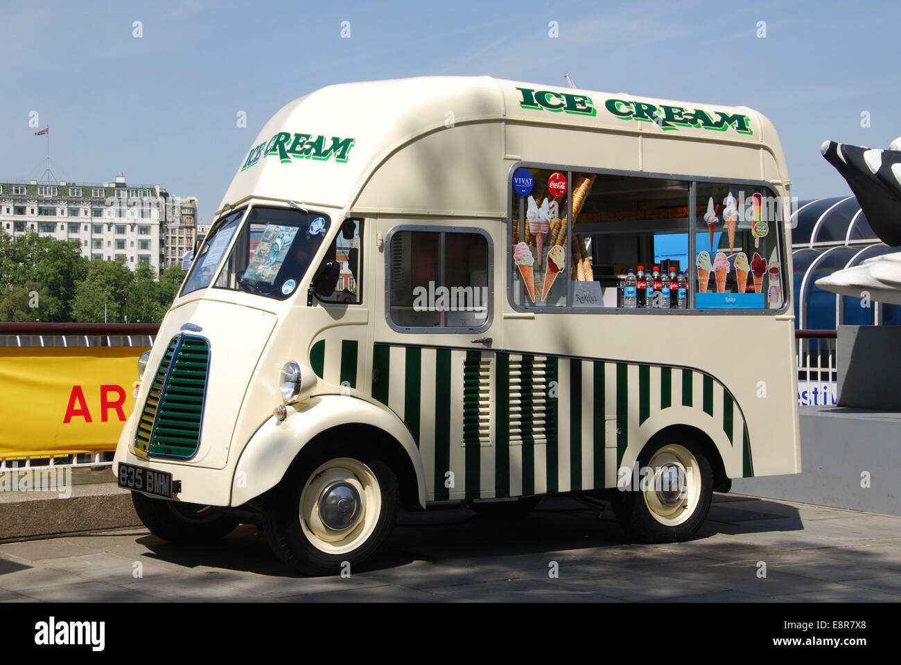 1954 Morris J-type ice cream van at London's South Bank United Kingdom - Stock Image