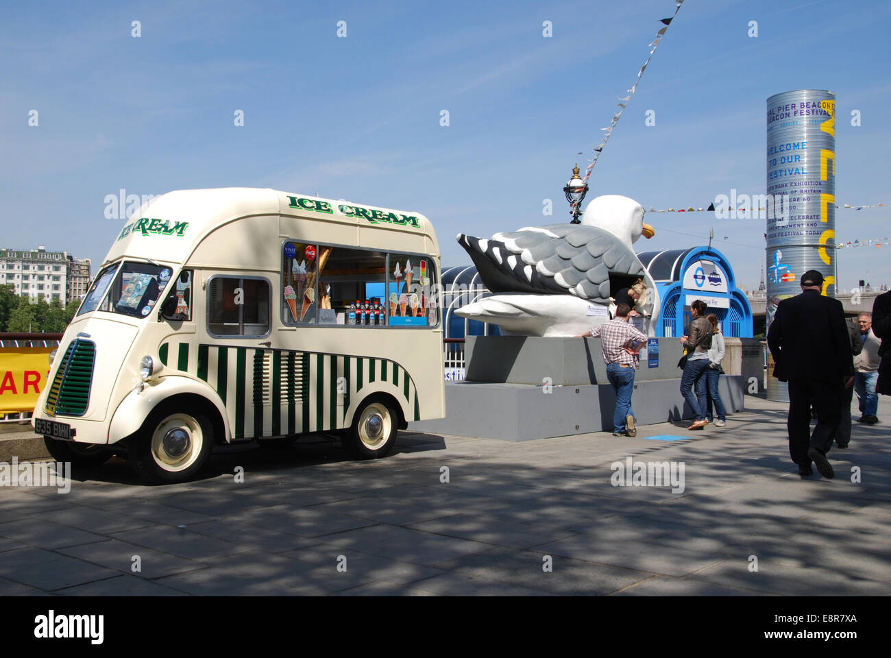ice cream van at London's South Bank United Kingdom - Stock Image