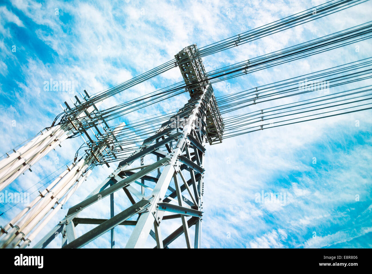 Power lines tower - Stock Image