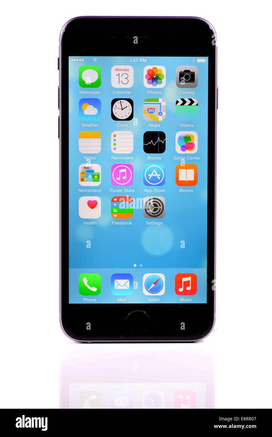Apple iPhone 6 on white background - Stock Image
