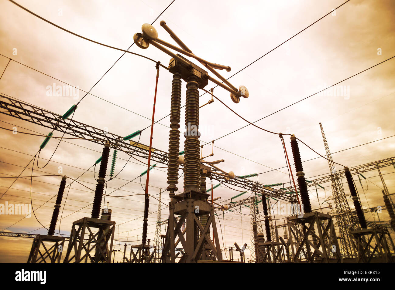Electric substation in Chile - Stock Image