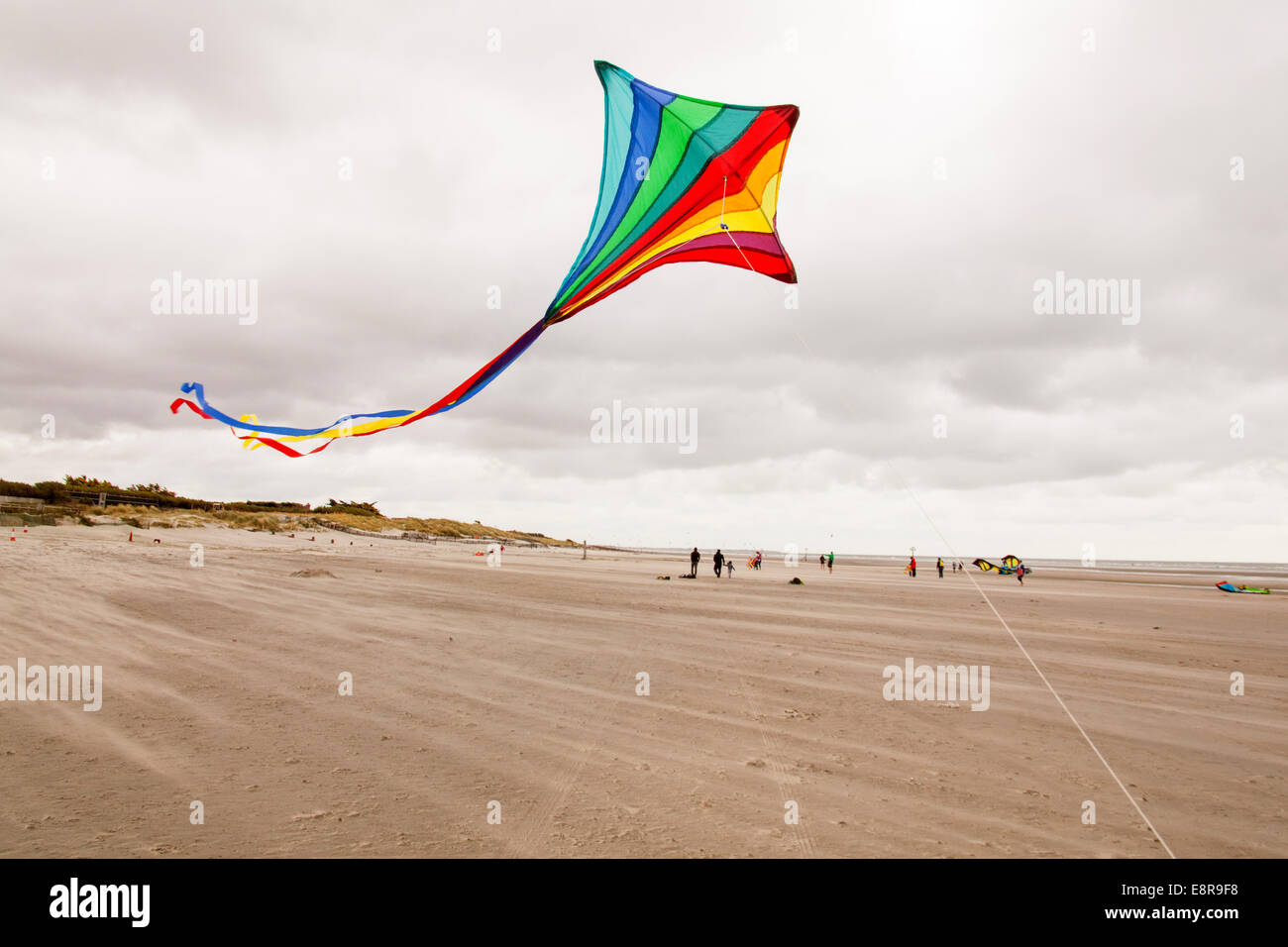 Kite flying on West Wittering beach, West Sussex, England, United Kingdom. - Stock Image