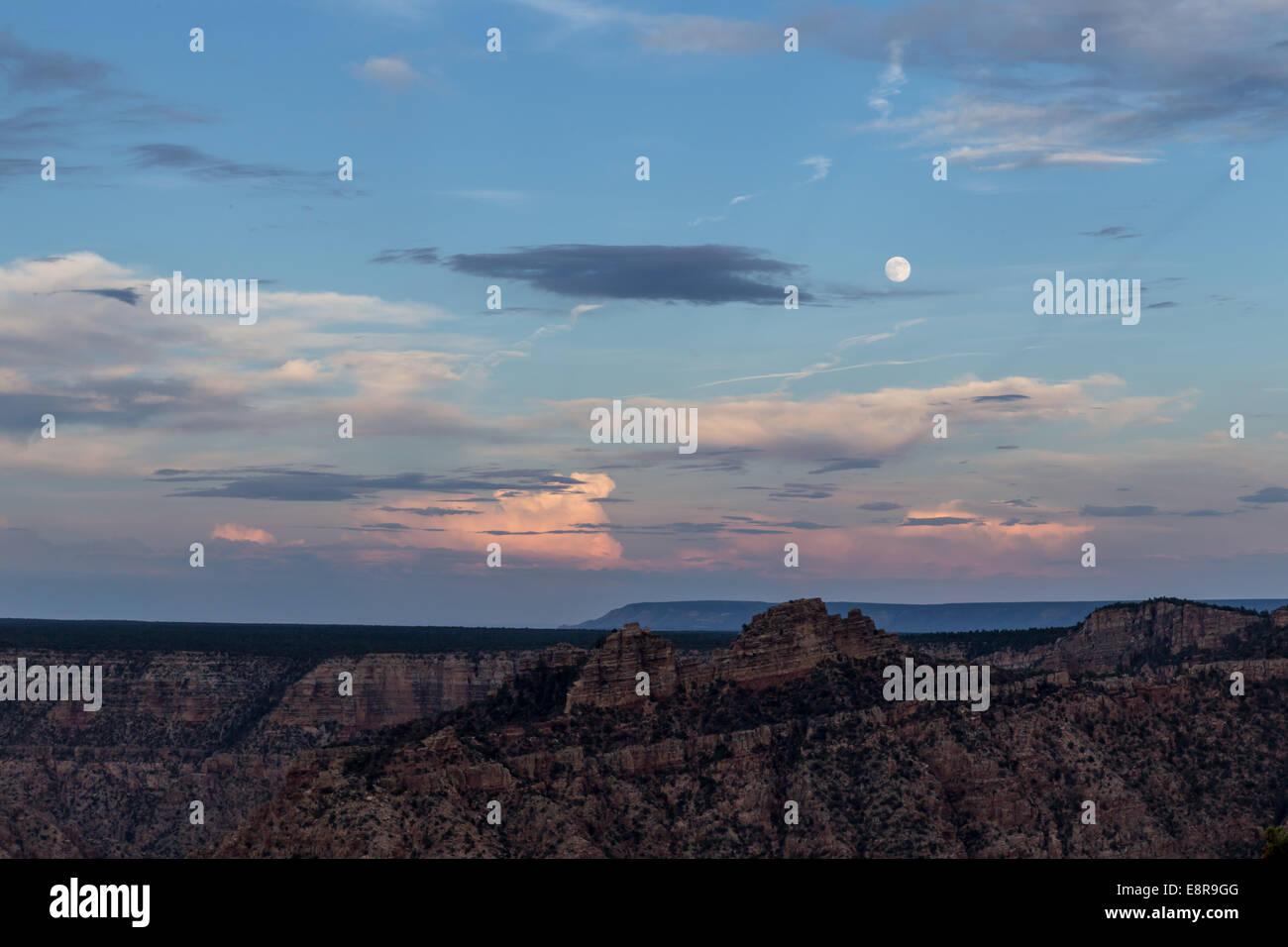 Full moon over the Grand Canyon. USA, California Stock Photo