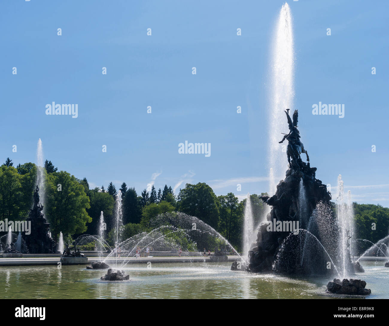 Herrenchiemsee Palace, located on an island in lake Chiemsee, water games and the fama and fortuna fountain, Bavaria, - Stock Image