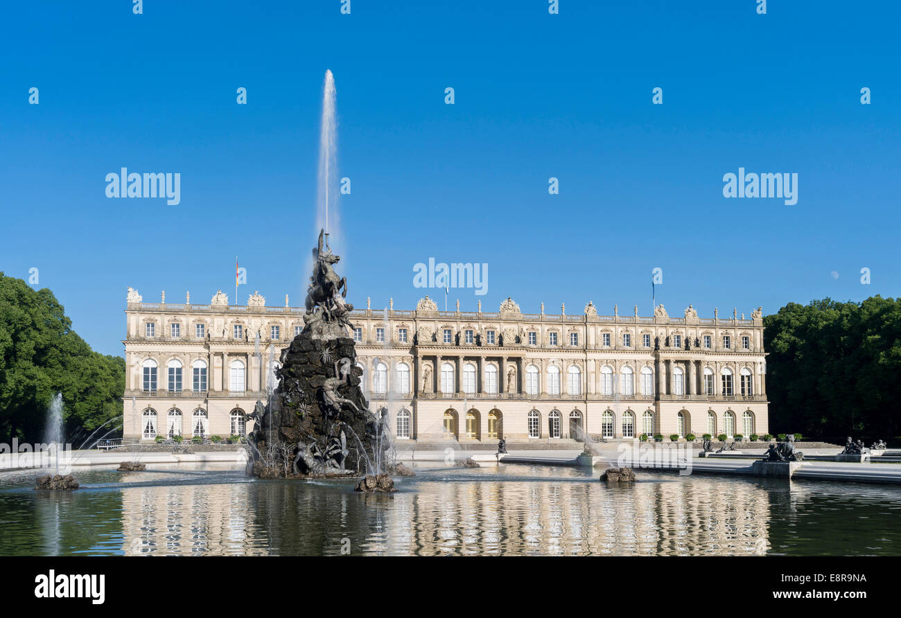 Herrenchiemsee Palace, located on an island in lake Chiemsee, water games and the fama fountain, Bavaria, Germany. - Stock Image