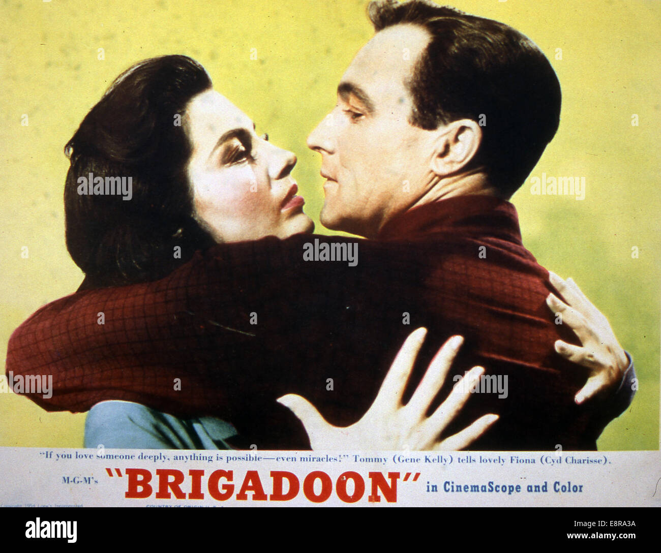 BRIGADOON  Poster for 1954 MGM film musical with Cyd Charisse and Gene Kelly - Stock Image