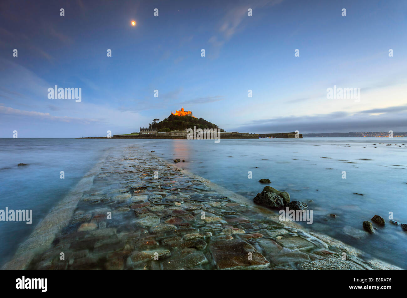 St Michael's Mount captured during twilight from the causeway - Stock Image