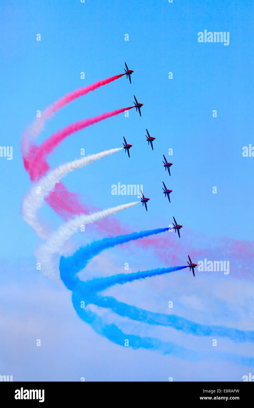 The Red Arrows captured over Falmouth in late May 2014 - Stock Image