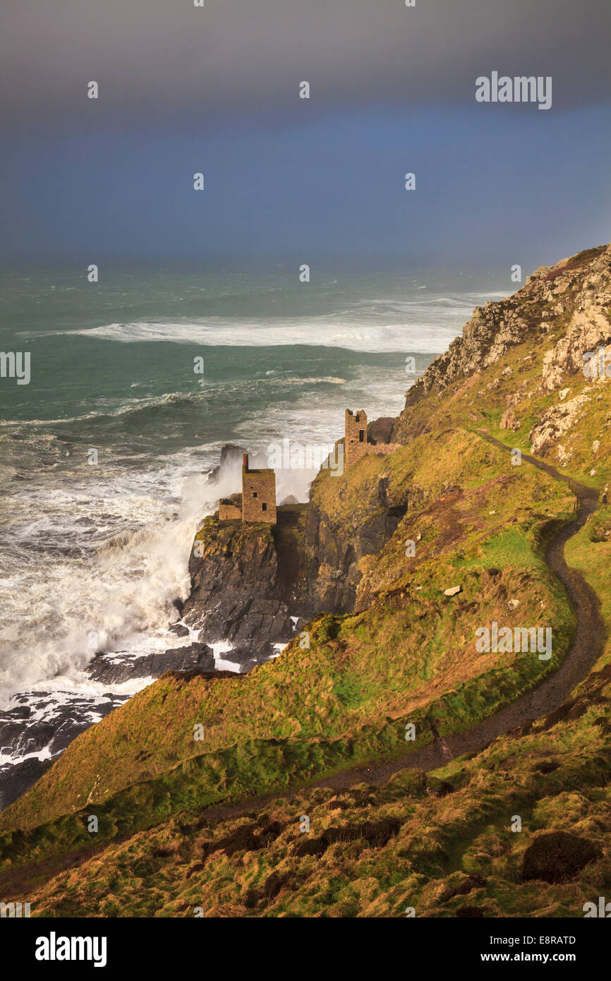 The Crown Mines at Botallack in Cornwall - Stock Image