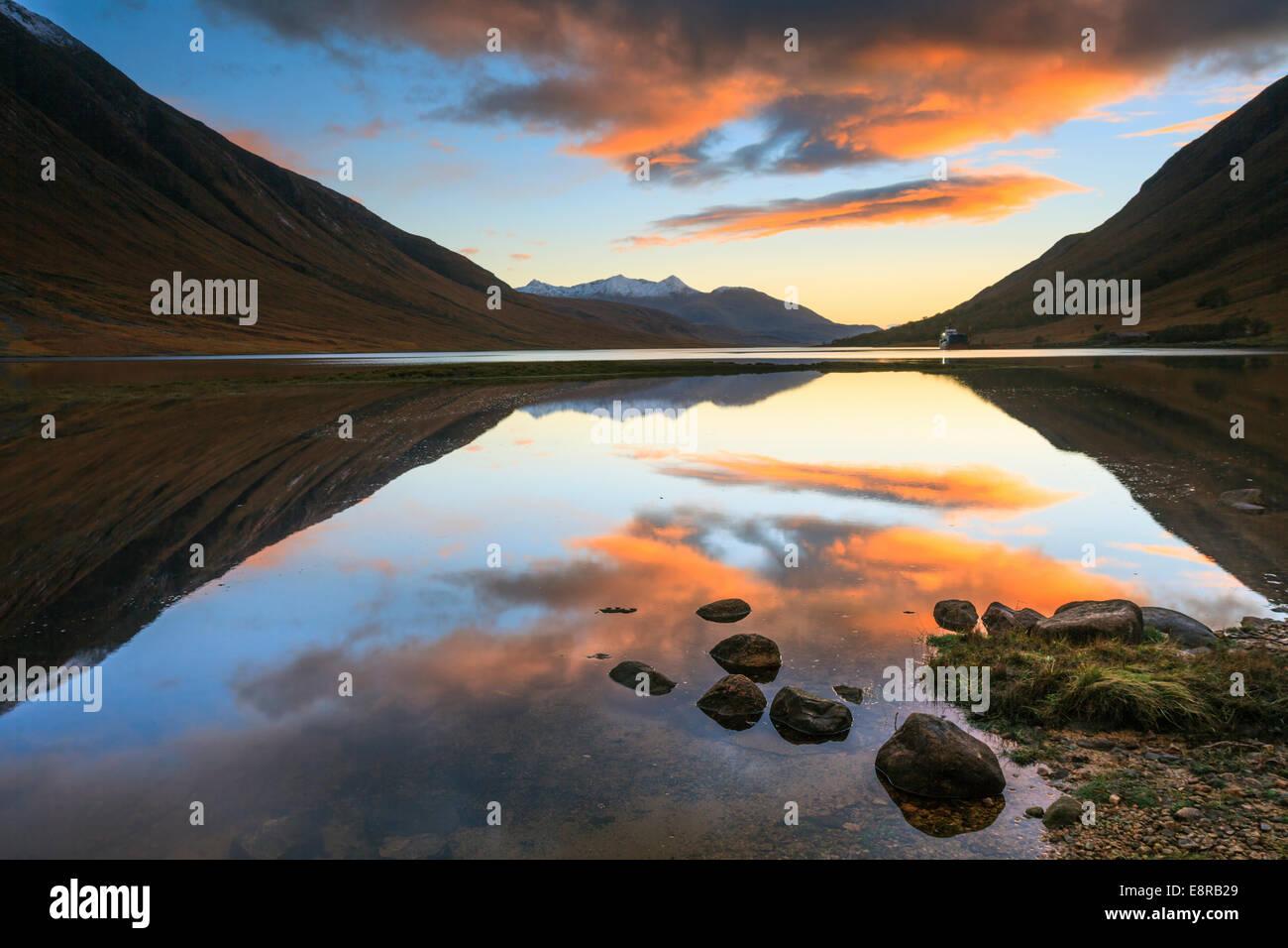 Loch Etive captured at sunset. - Stock Image