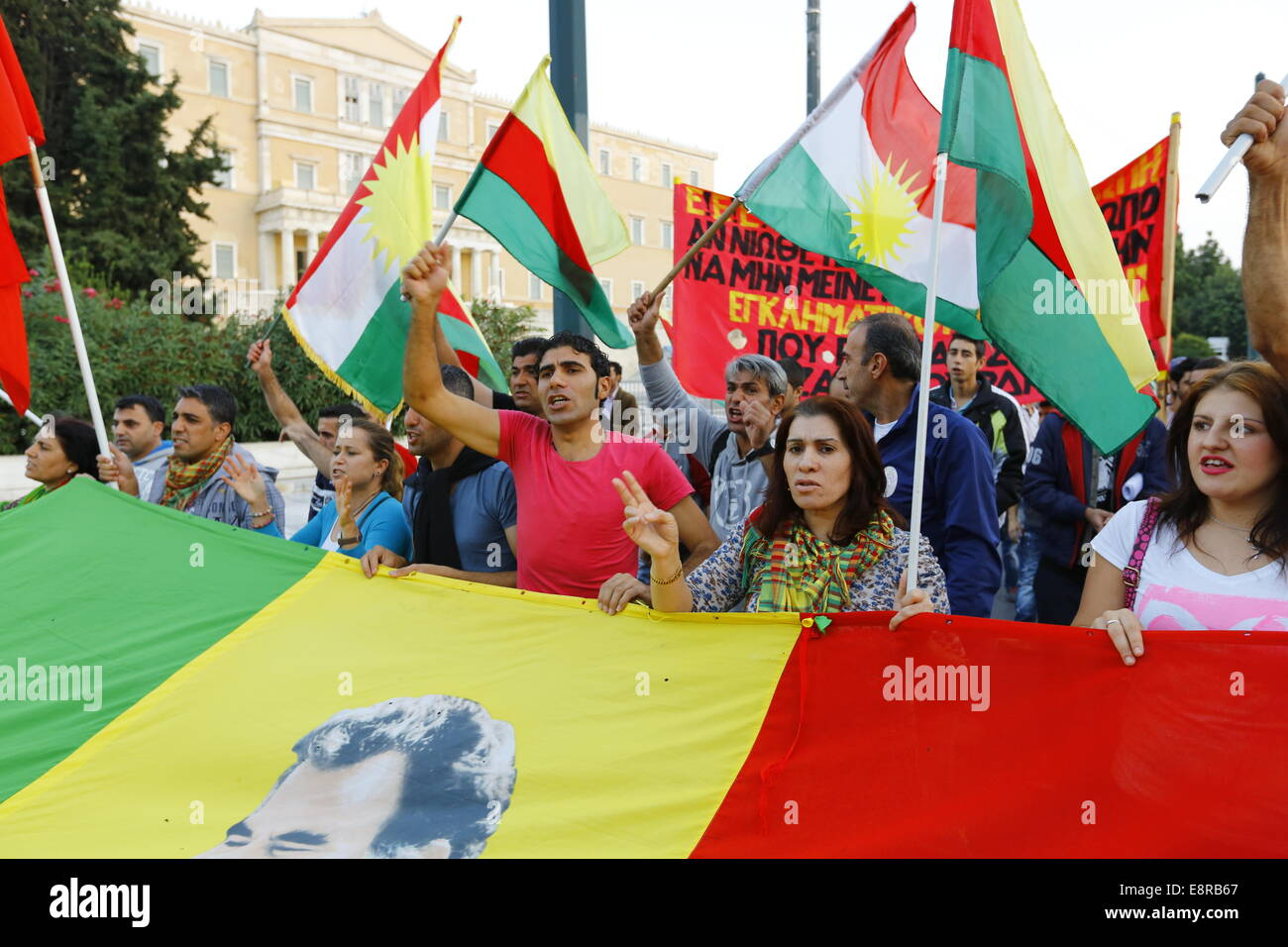 Athens, Greece. 13th October 2014. The protest march passes by the Greek Parliament. Kurds living in Greece protested - Stock Image