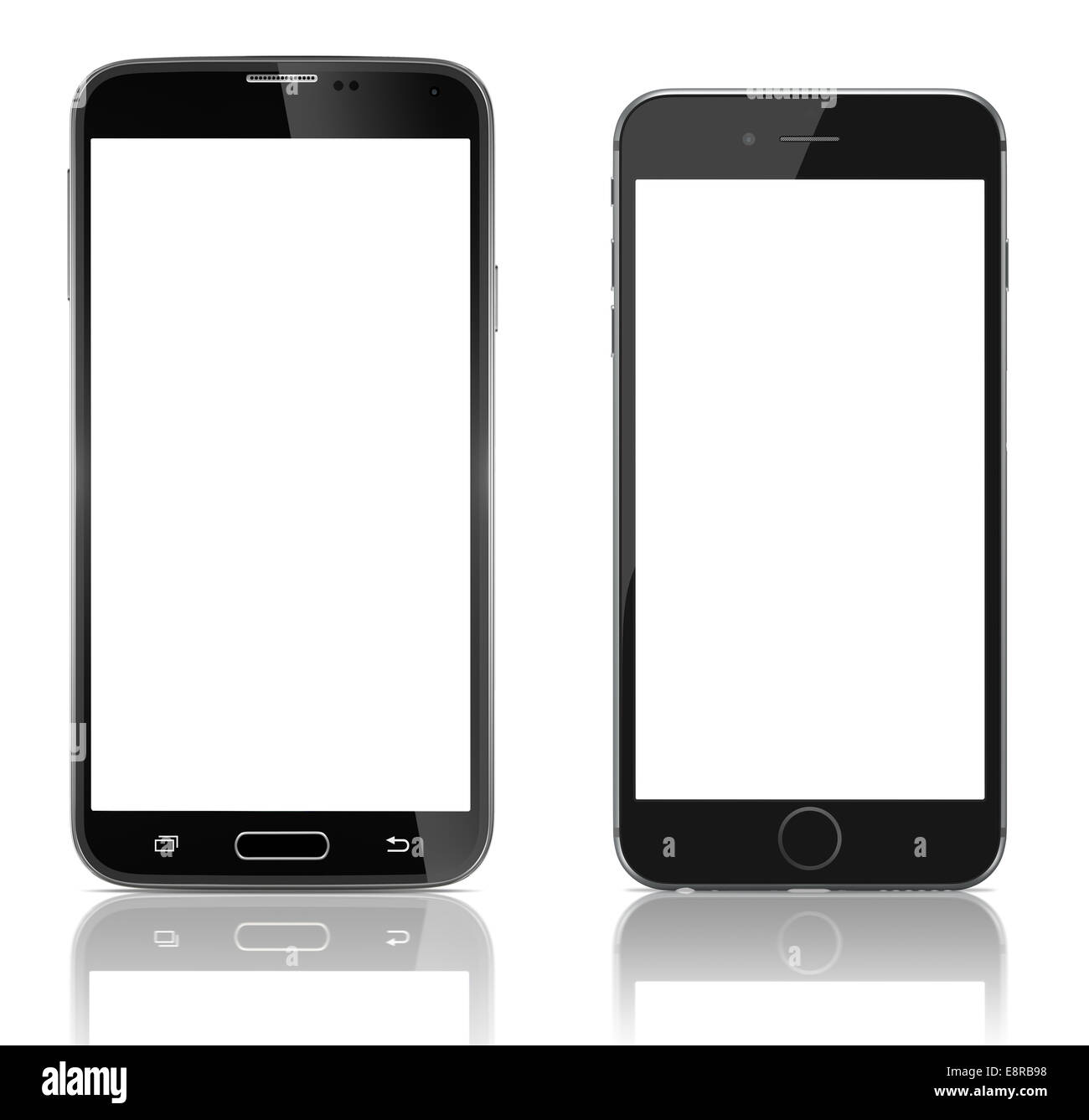 Comparison two new smartphones side by side. new Smartphone with blank screen on white background - Stock Image