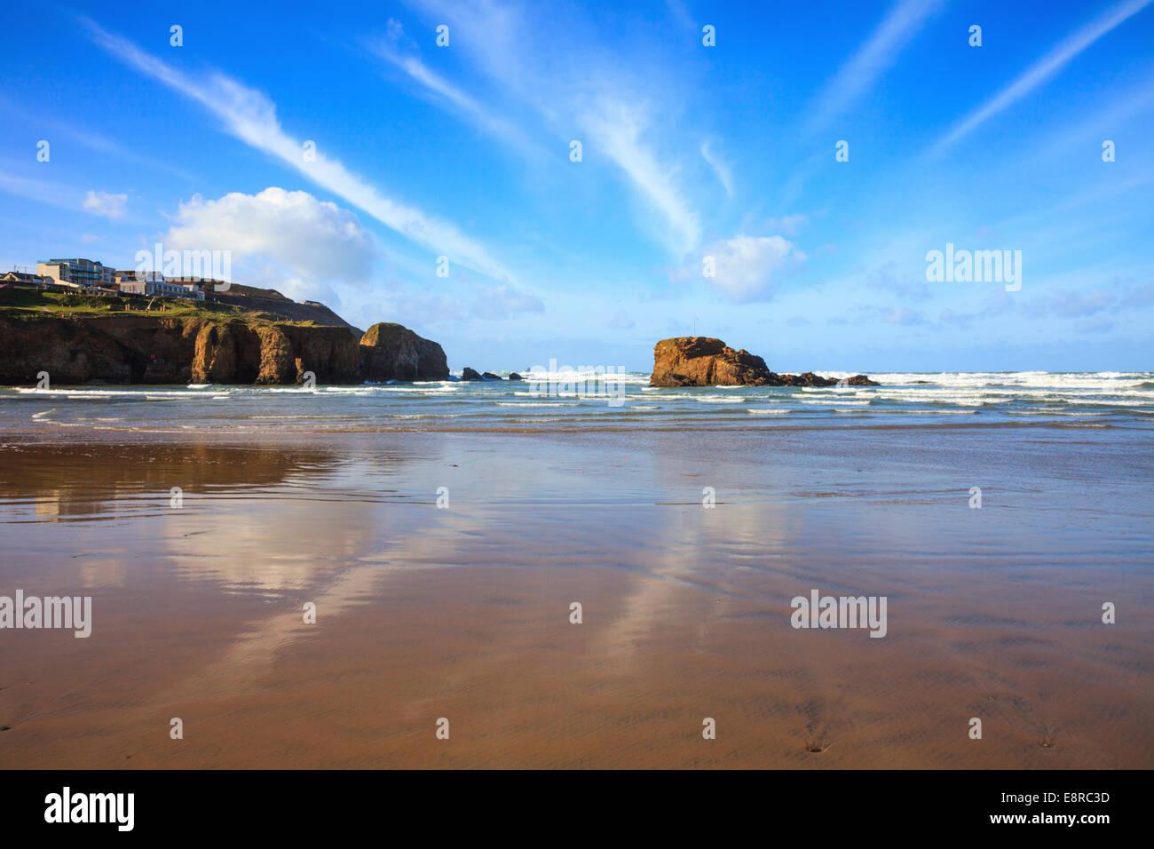 Perranporth Beach in Cornwall - Stock Image