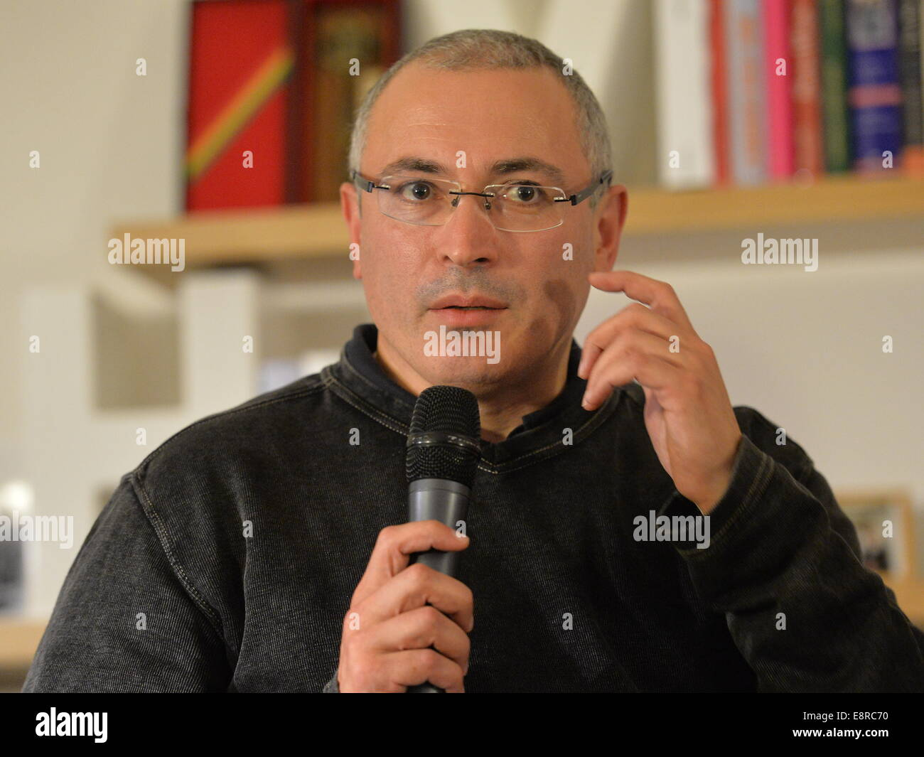 Russian former oil tycoon and later the most famous prisoner Mikhail Khodorkovsky speaks during a debate within - Stock Image