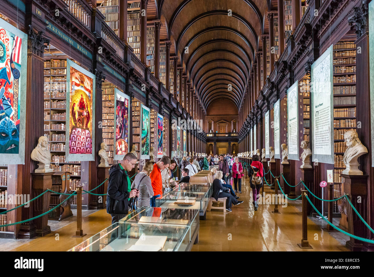 Trinity College Lobrary. The Long Room in The Old Library, Trinity College, Dublin, Ireland - The Book of Kells - Stock Image