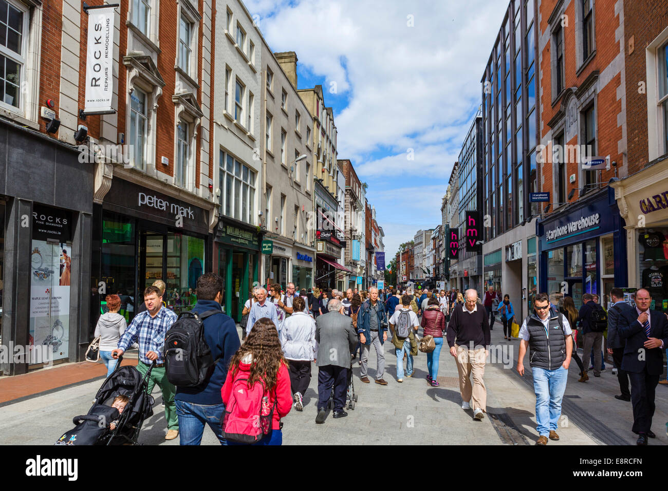 Shops on Grafton Street in the city centre, Dublin City, Republic of Ireland - Stock Image