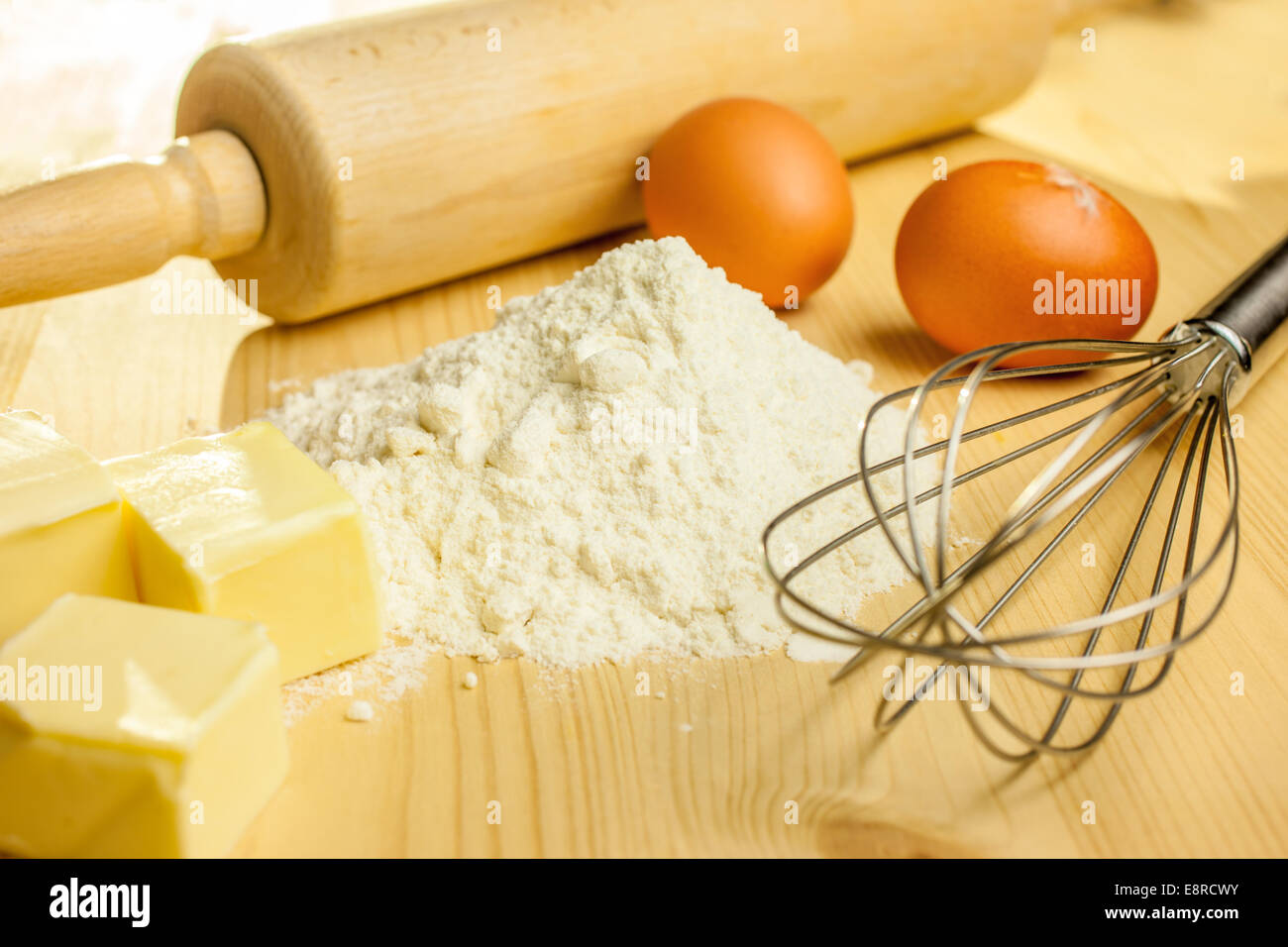 Ingredients and utensils for baking Christmas cookies - Stock Image