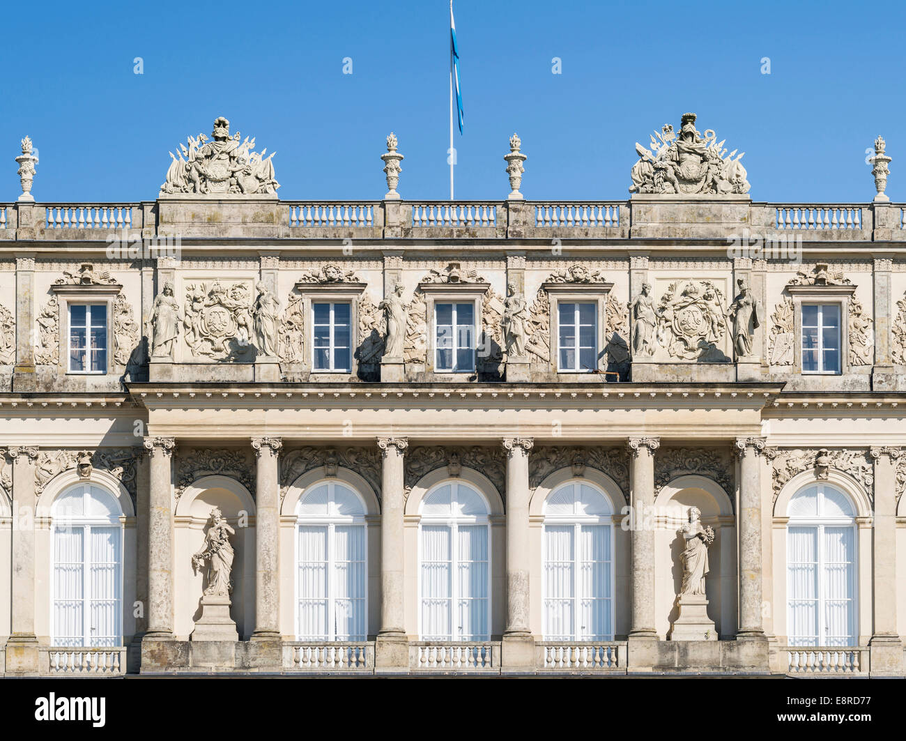 The western facade (Gartenfassade) of Herrenchiemsee Palace, located on an island in lake Chiemsee, Bavaria, Germany. - Stock Image