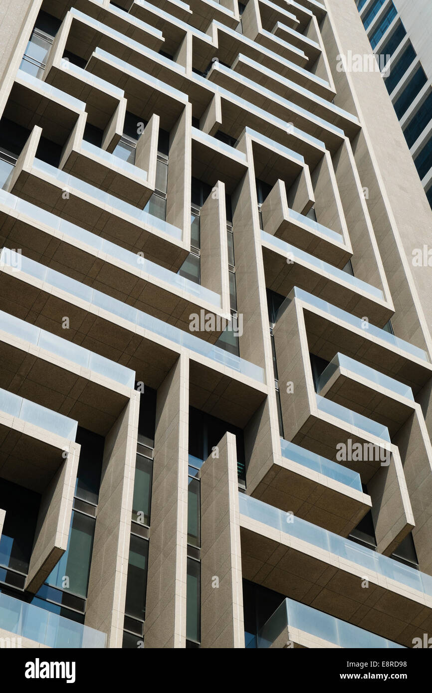 Detail of intricate architecture of skyscraper facade in Dubai United Arab Emirates - Stock Image