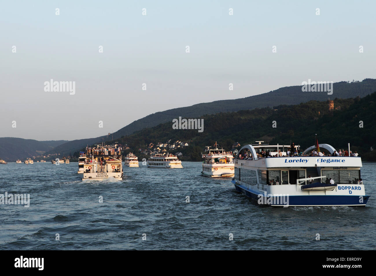Ships cruising on the River Rhine in Germany. - Stock Image