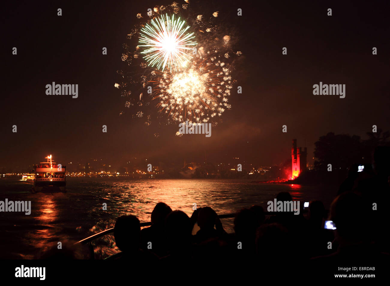 Fireworks over the River Rhine during the 'Rhein in Flammen' ('Rhine in Flames') festival in Germany. - Stock Image