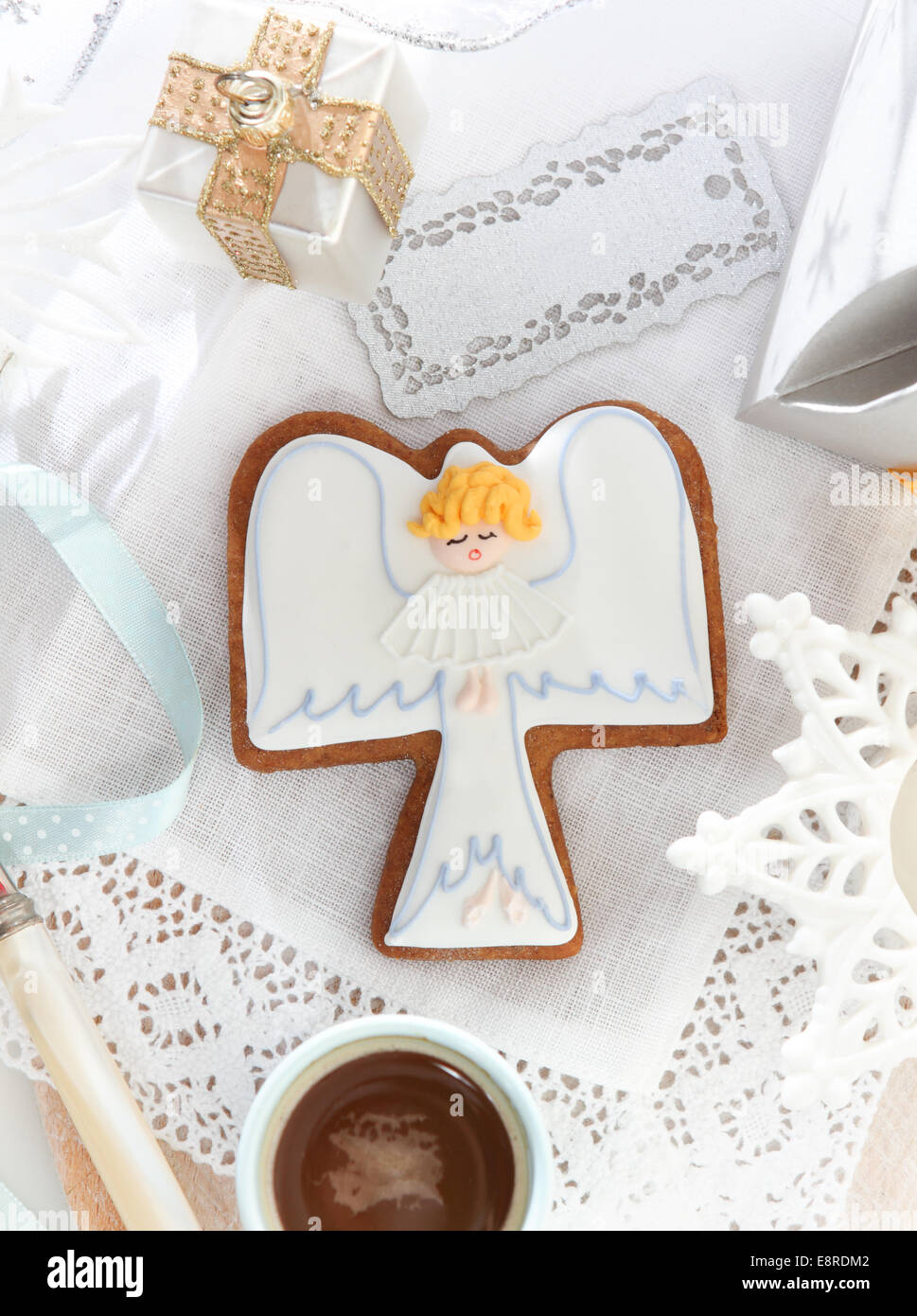 Christmas Angel Cookies And Decorations On The White Background