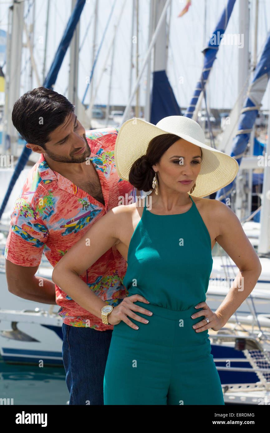 Puerto de Mogan, Gran Canaria, Canary Islands. 13th Oct, 2014.  BAFTA winning actor Kayvan Novak on the set  on - Stock Image