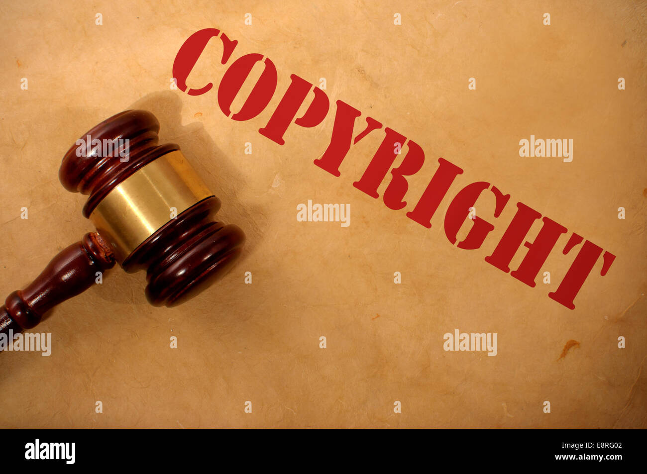 Copyright text heading and gavel - Stock Image