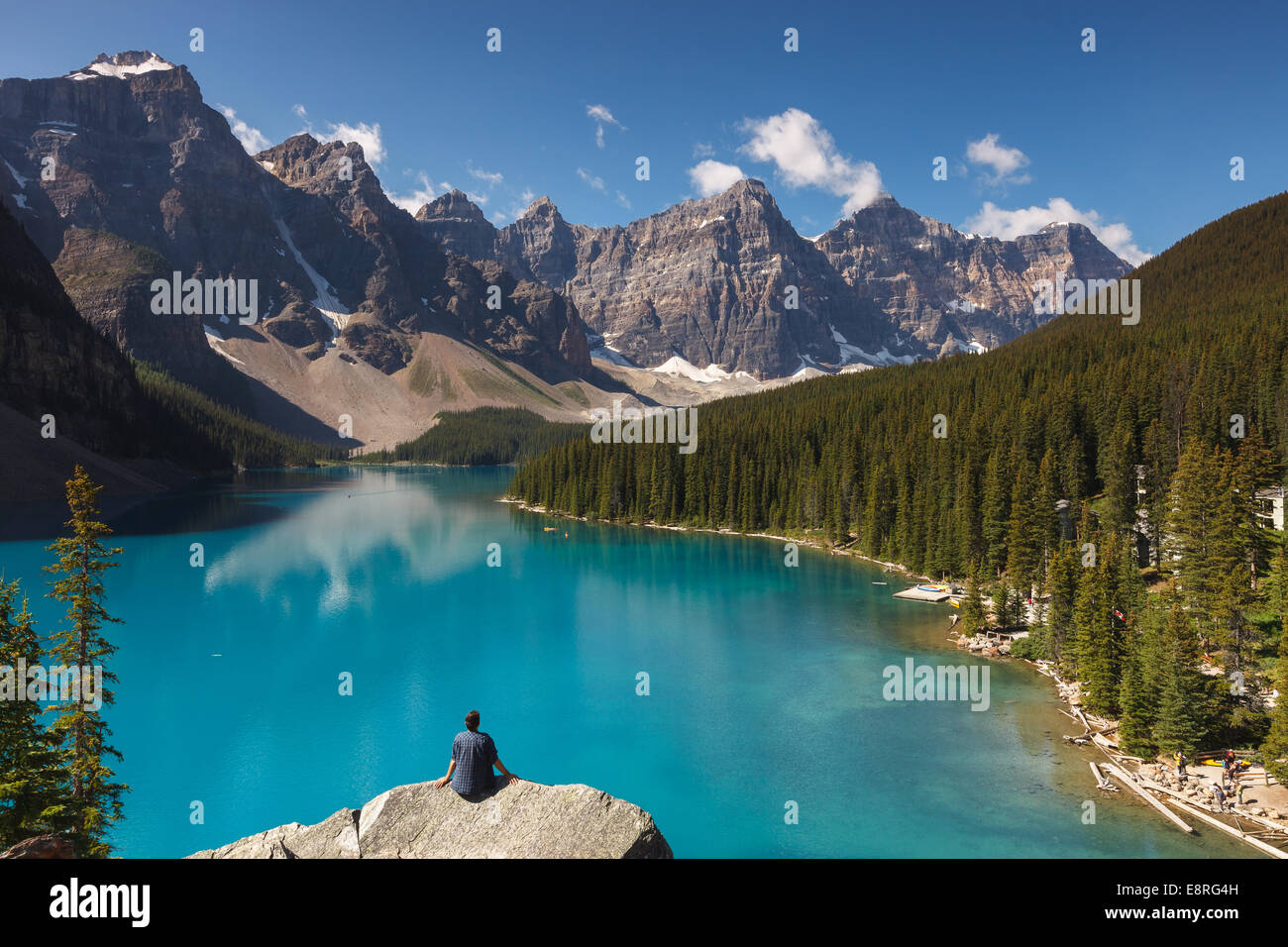 A man enjoying the view of Moraine Lake, Banff National Park, Alberta, Canada, America. Stock Photo