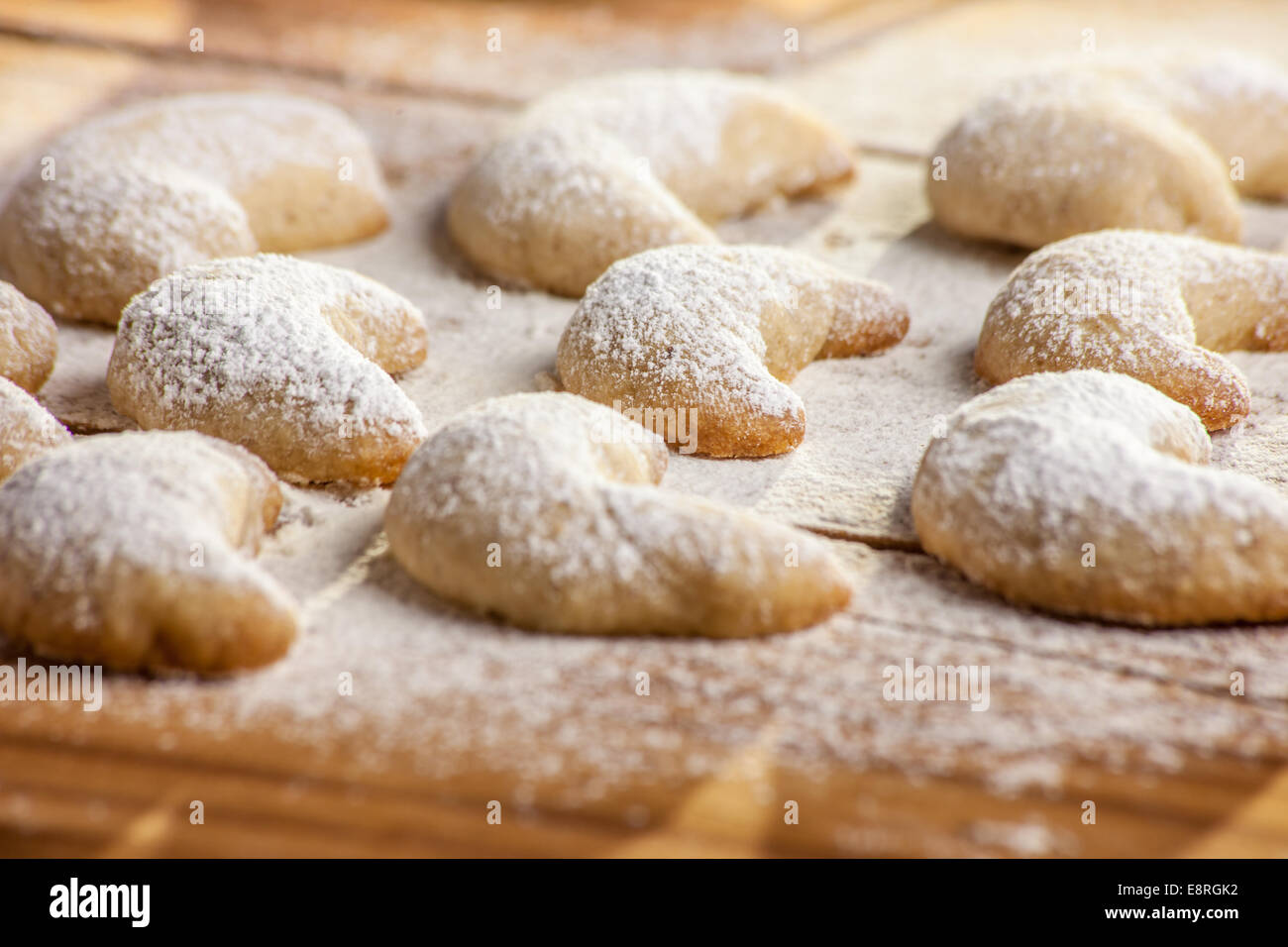 Christmas Cookies With Vanilla On Floured Table Stock Photo