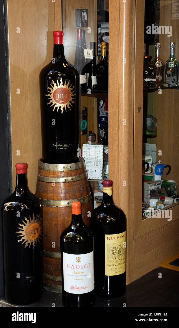 Giant Wine Bottles Make An Eye Catching Promotional Display Outside
