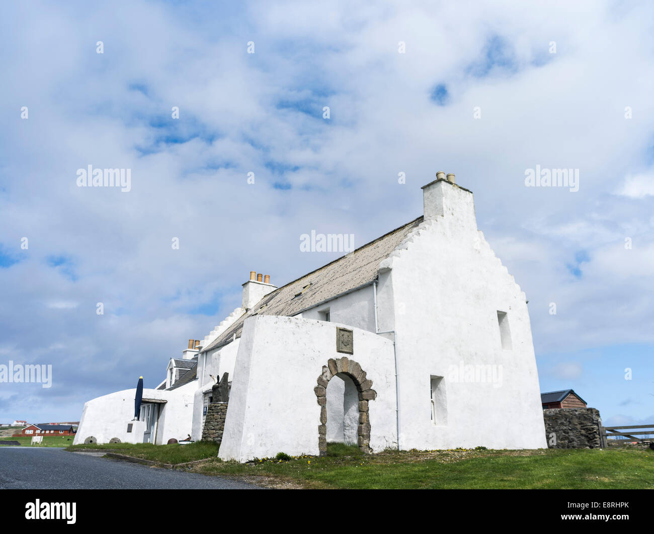 Old Haa of Burravoe is an example of a merchants house and warehouse, Built in 1672, Yell island, Shetland islands, - Stock Image