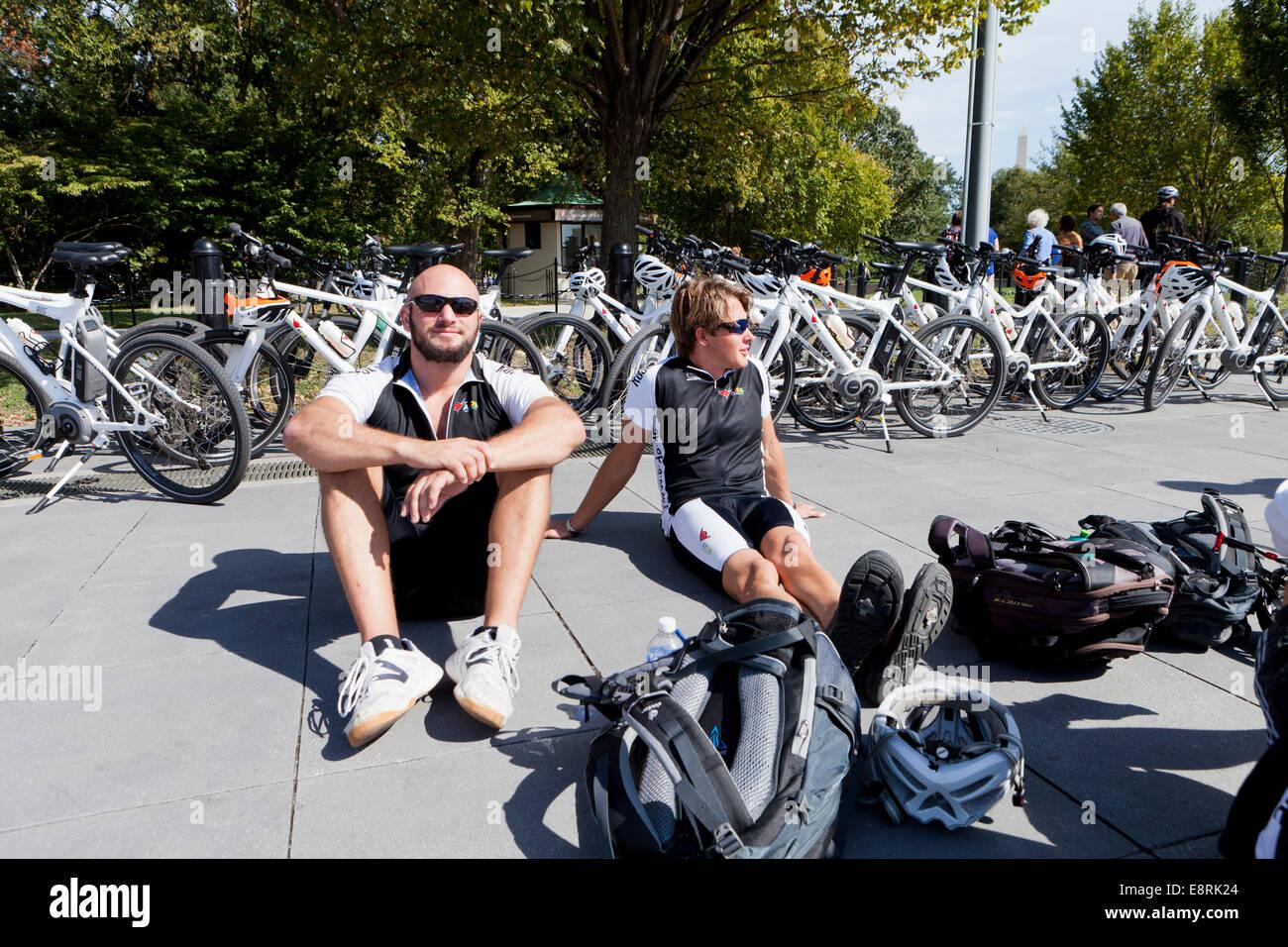 Bike tour guides taking a break - Washington, DC USA - Stock Image