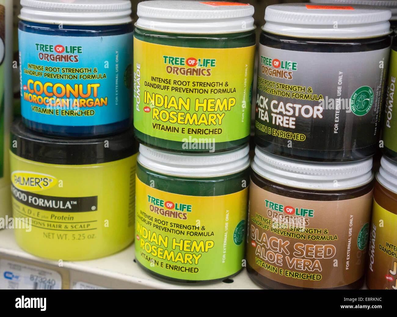 Organic hair treatments in a pharmacy in the Jackson Heights neighborhood in Queens in New York Stock Photo