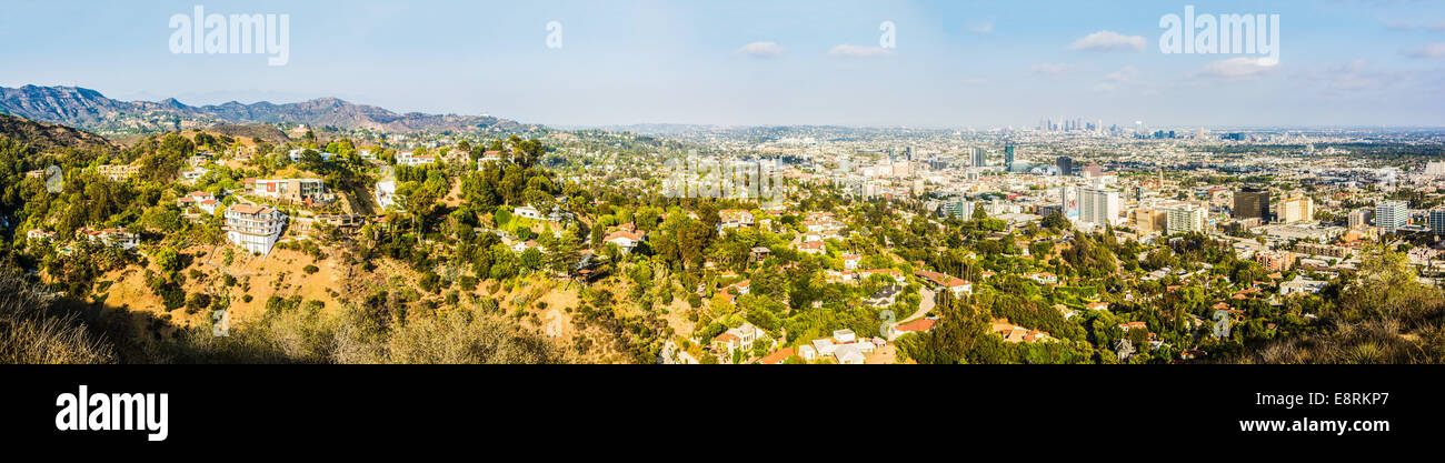 Panorama of Los Angeles (from left background: Hollywood Sign, Griffith Observatory & Downtown LA), California, - Stock Image