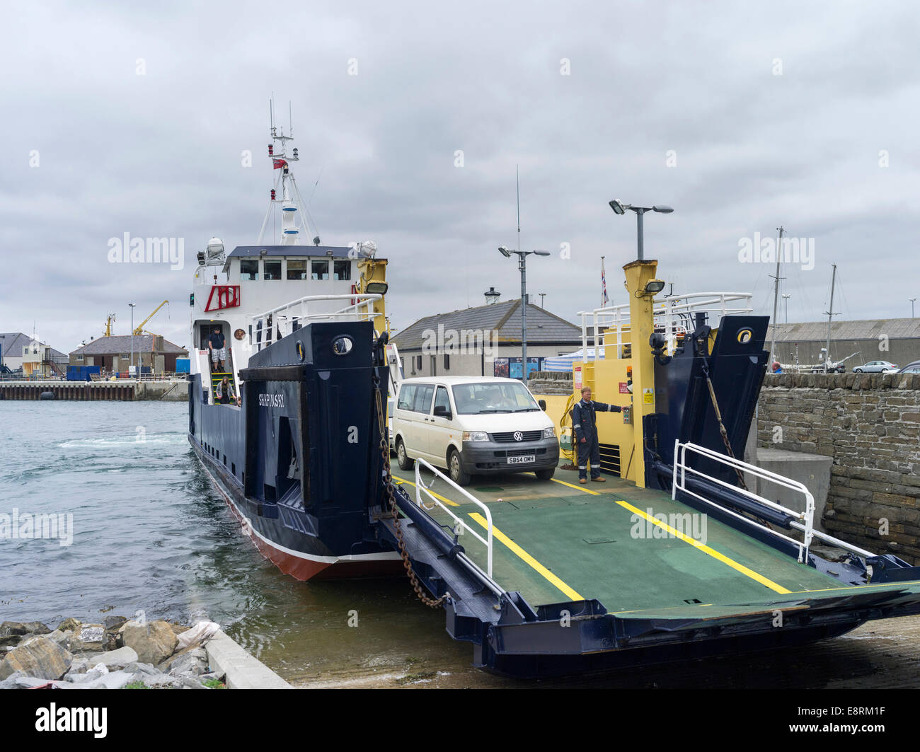 Traditional harbor near the old town waterfront, jetty for ferries to the smaller islands, Kirkwall, Orkney islands, - Stock Image