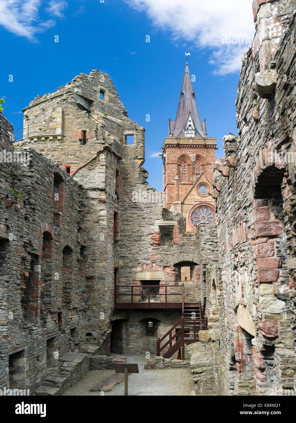 Bishop's Palace, built in the 12th century, St. Magnus Cathedral in the background, Kirkwall, Orkney islands, - Stock Image