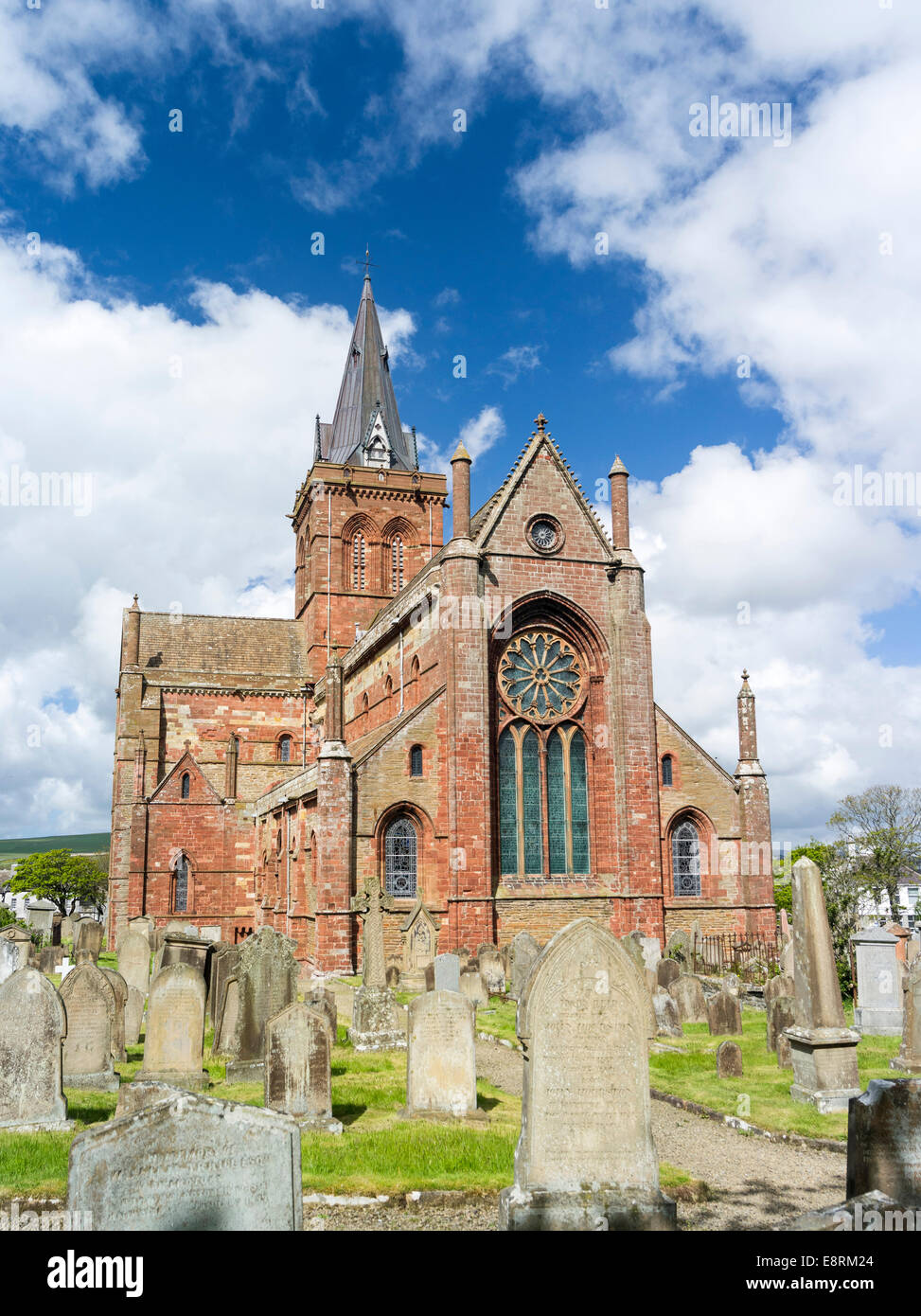 St. Magnus Cathedral, famous for its use of different colored stones. Kirkwall, Orkney islands, Scotland. - Stock Image