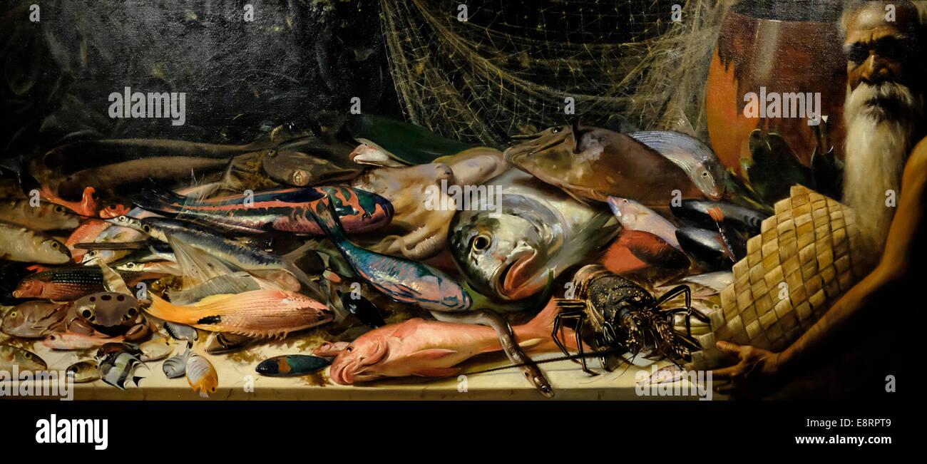 Study of Hawaiian Fish 1898  Hubert Vos 57 varieties of fish and crustaceans - Stock Image