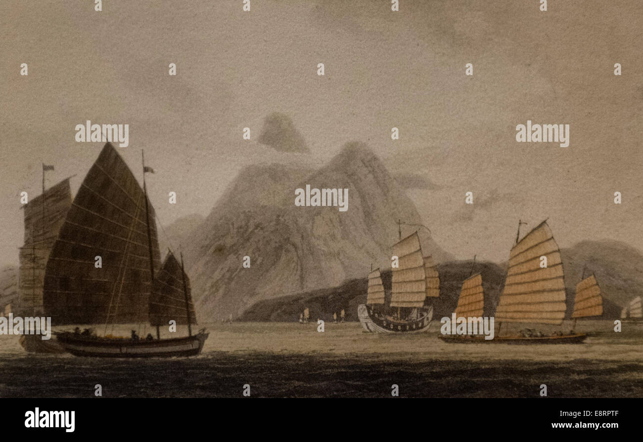 Chinese Vessels, circa 1800 - Stock Image